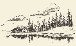 House drawn fir forest meadow real estate sketch. Hand drawn landscape with fir forest and meadow, vintage vector illustration Royalty Free Stock Photos