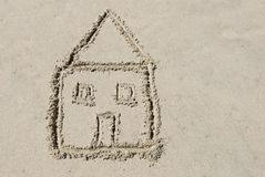 House Drawn in Sand Stock Images