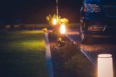 House Driveway Illumination royalty free stock photo