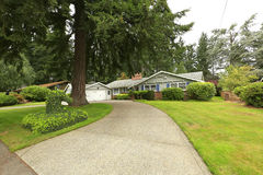 House with driveway and landscape Royalty Free Stock Images