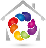 House and drops in color, real estate and painter logo. House and drops in color, colored, real estate and painter logo Stock Image