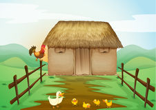 House and ducks. Illustration of house and ducks in a beautiful nature Stock Photo