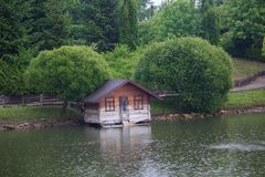 House for ducks on the lake Stock Photo