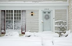 House During Big Snowstorm Royalty Free Stock Images