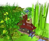 House of a dwarf. A dwarfs house standing among bushes and tall grass, over a white background, 3D illustration, raster illustration Stock Photos