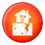 House after an earthquake icon, flat style Royalty Free Stock Photos