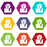 House after an earthquake icon set color hexahedron Stock Photography