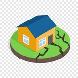 House after an earthquake isometric icon Stock Images
