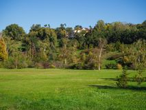 House in an ecological green area. royalty free stock image
