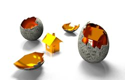 House in egg of the banknotes Stock Photo
