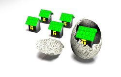 House in egg of the banknotes Stock Image