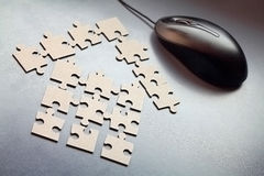 House of elements of puzzle Royalty Free Stock Photography