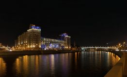 House on the Embankment in the night Royalty Free Stock Photography