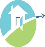 House emblem. Isolated line art house logo Stock Images