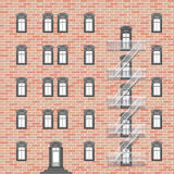 House with emergency ladder. Abstract vector art illustration Stock Image