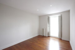 House empty room with classic iron heater Royalty Free Stock Photos