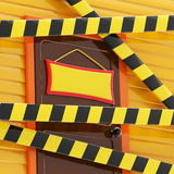 House enclosed with a barrier tapes Stock Image