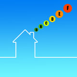 House energy. Outline of a house in the blue sky, with different energy class ratings Stock Photo