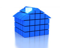 3d Blue House. House and energy efficiency concept Royalty Free Stock Photos