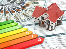 House energy efficiency concept. Real estate, money and rating royalty free stock photos