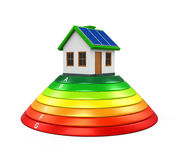 House with Energy Efficiency Level. Isolated on white background. 3D render Stock Images