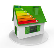 House with Energy Efficiency Levels. Isolated on white background. 3D Render Stock Photo