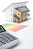 House Energy Efficiency Rating. Calculator, energy efficiency rating graph and model of the active house.  Focused oh graph and part of the house Stock Photography