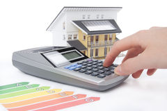 House Energy Efficiency Rating. Calculation for energy positive (active) house concept royalty free stock image