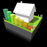 House with energy rating diagram. Diagram of a detached house with energy rating bar diagram Royalty Free Stock Images