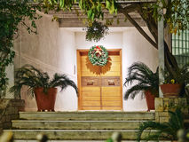 House entrance christmas night view Royalty Free Stock Photo