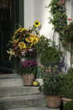 House Entrance Decorated with Sunflowers Royalty Free Stock Photos