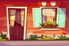 House entrance facade vector illustration stock illustration