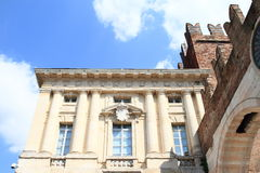 House by entrance gate to old Verona Stock Photo