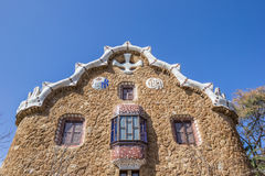 House at the entrance of Park Guell in Barcelona. Spain stock photo