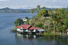 The house established on piles.  New Guinea Stock Images