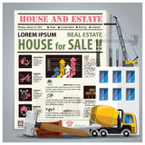House And Estate Newspaper Lay Out With Construction Process. Design Template Stock Photo
