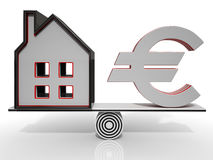 House And Euro Balancing Showing Investment Stock Photos