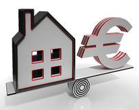 House And Euro Balancing Shows Investment Stock Photo