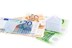 House on euro banknotes isolated Royalty Free Stock Image