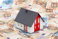 House on euro banknotes. Model house on euro banknotes Royalty Free Stock Photography
