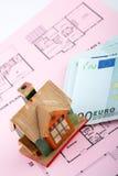 House and euro bills Stock Photo