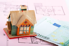 House and euro bills Stock Photos