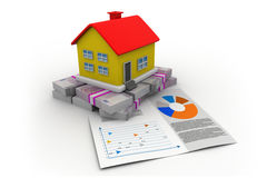 House with euro and graph chart Royalty Free Stock Images
