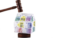 House of Euro notes and auctioneer's hammer Stock Photos