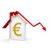 House and euro. Outline house with a red arrow Stock Images