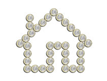 House of euro on a white background. House of euro coins on a white background Royalty Free Stock Photo