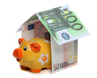 House of european money and piggy bank Stock Photos