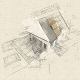 House with exposed roof layers and plans stock illustration