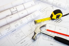 House extension plans Royalty Free Stock Image
