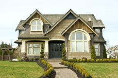 House Exterior. Exterior front view of a beautiful new home Royalty Free Stock Image